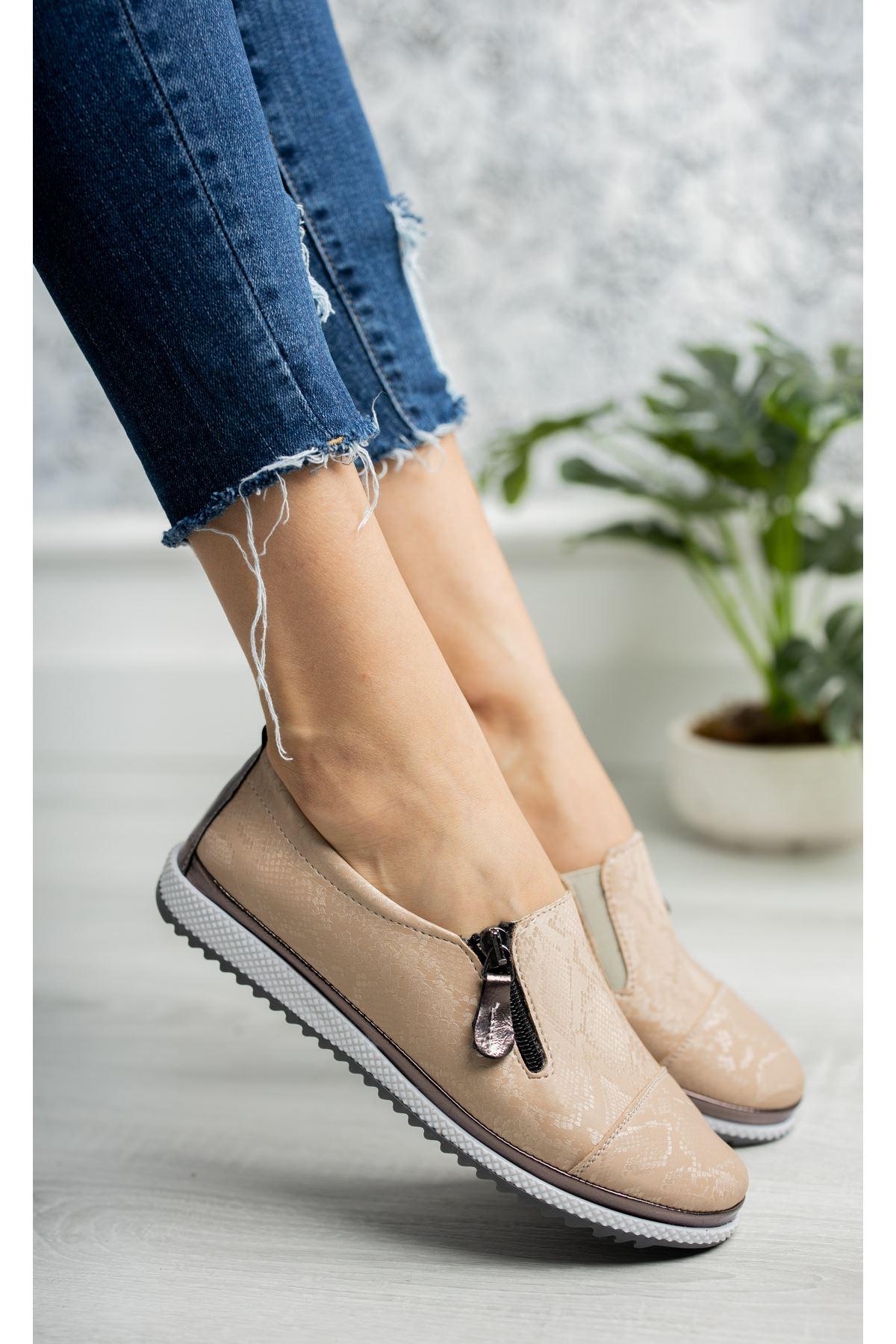 Ortopedik Taban İçi Deri Krem Ayakkabı