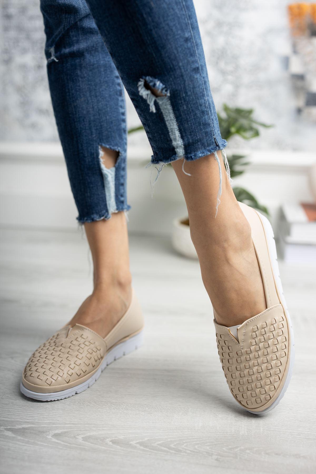 Ortopedik Taban Krem Cilt Ayakkabı