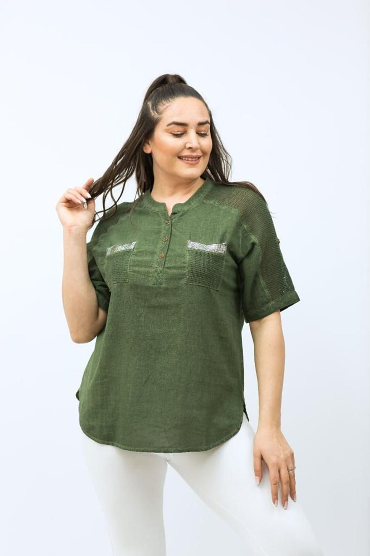 Cepli Pullu Kadın Gömlek
