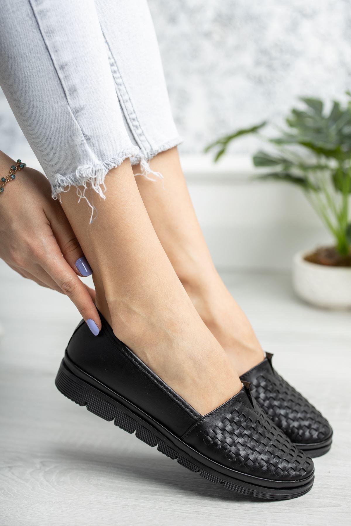 Ortopedik Taban Siyaha Siyah Taban Ayakkabı
