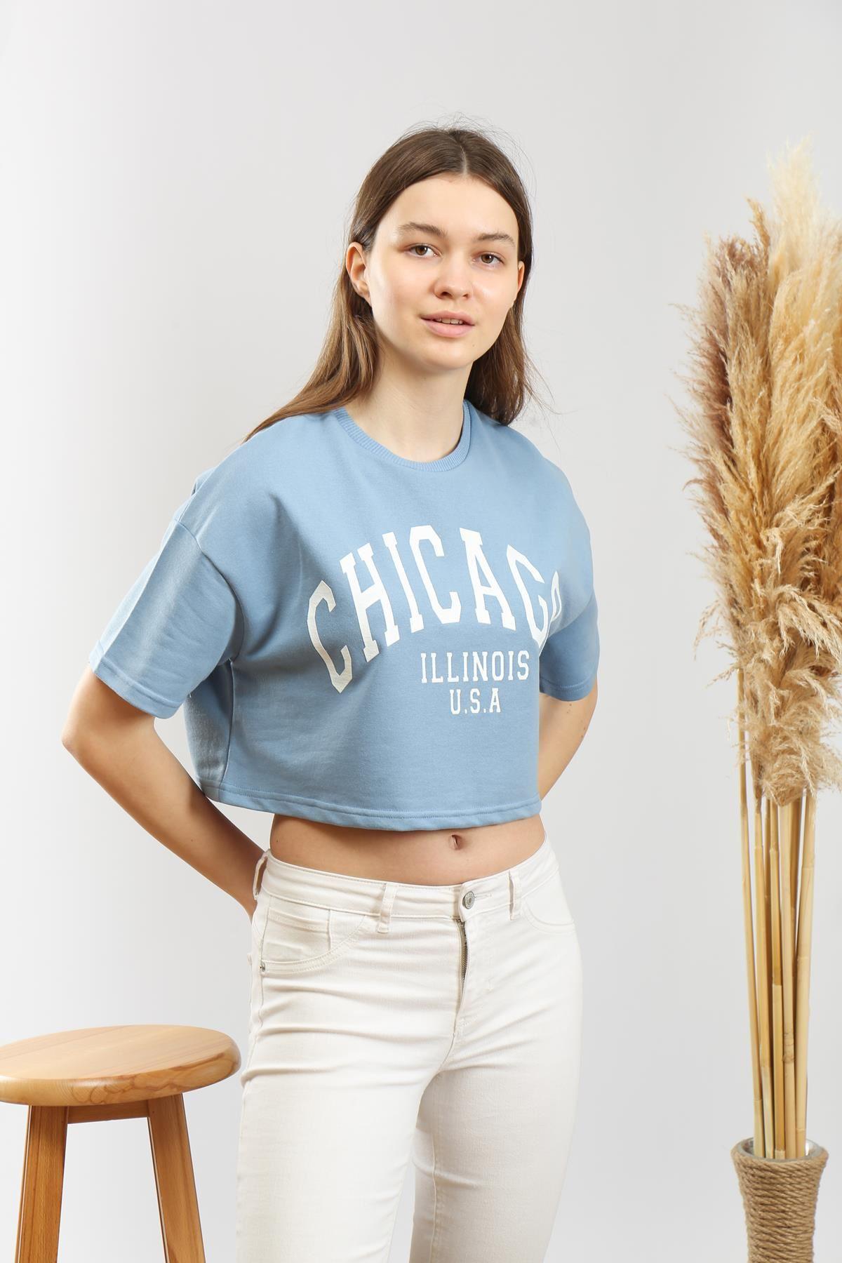 Baskılı Crop T-shirt