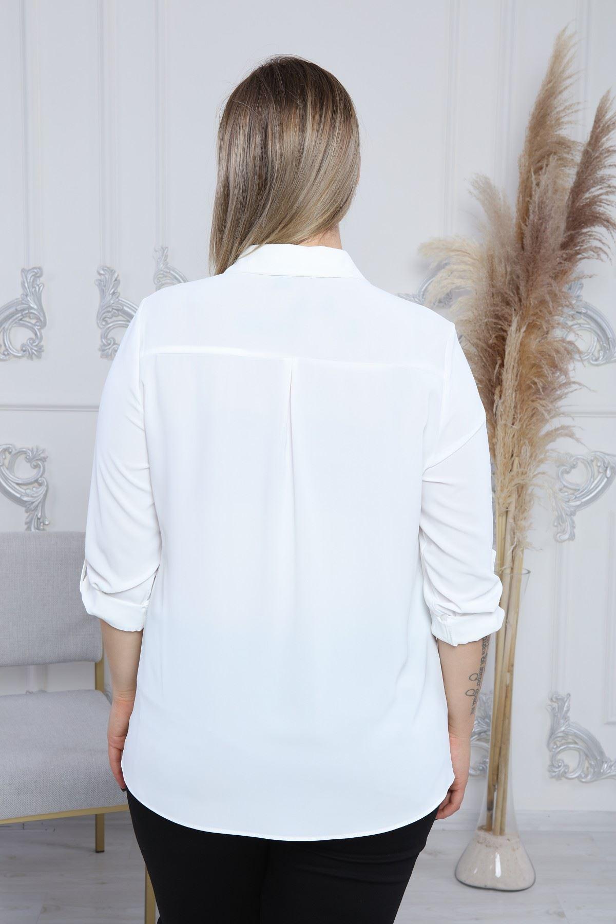 Yakalı Cepli Kadın Bluz