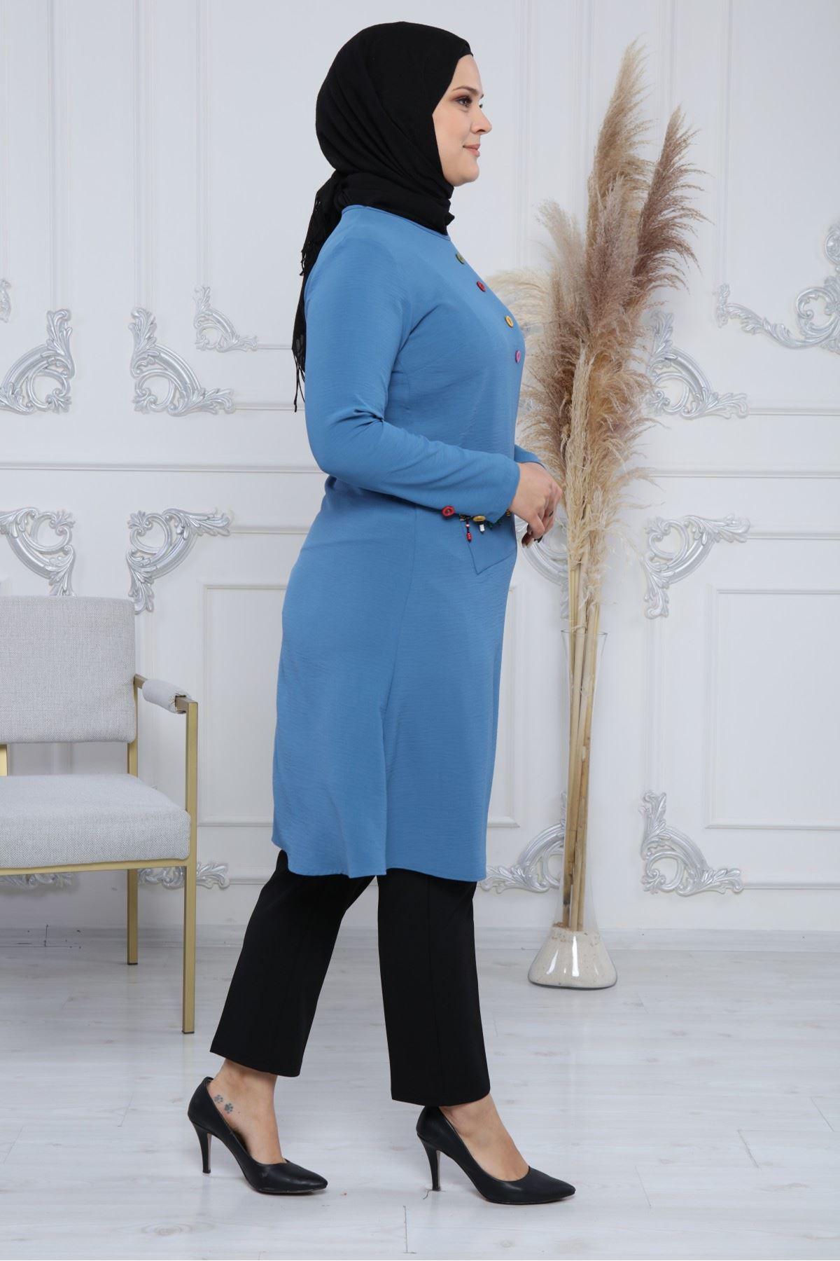 Boncuklu Düğmeli Kadın Tunik