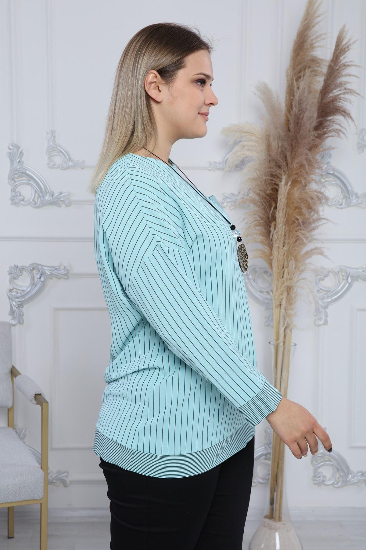 Çizgili Cepli Kadın Bluz