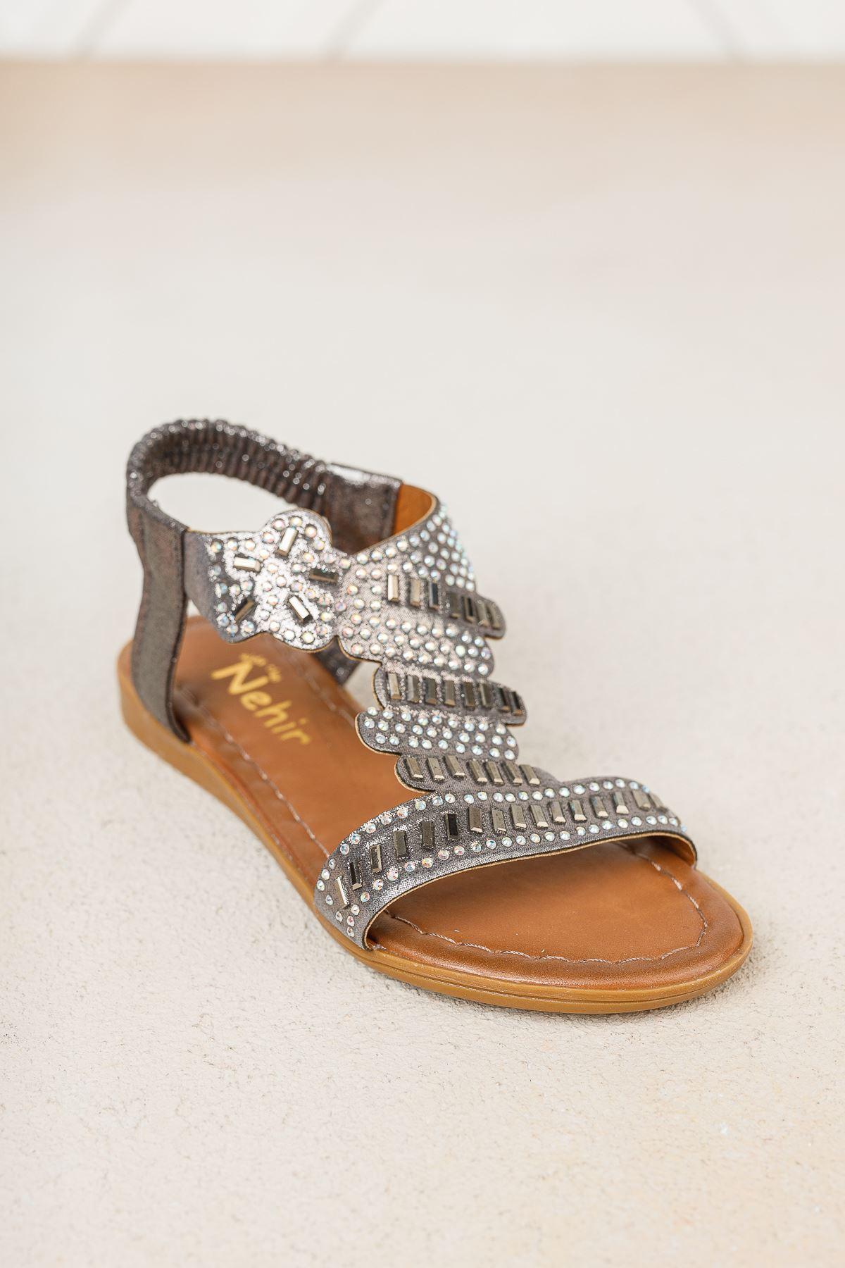 Platin Taşlı Kız Çocuk Sandalet