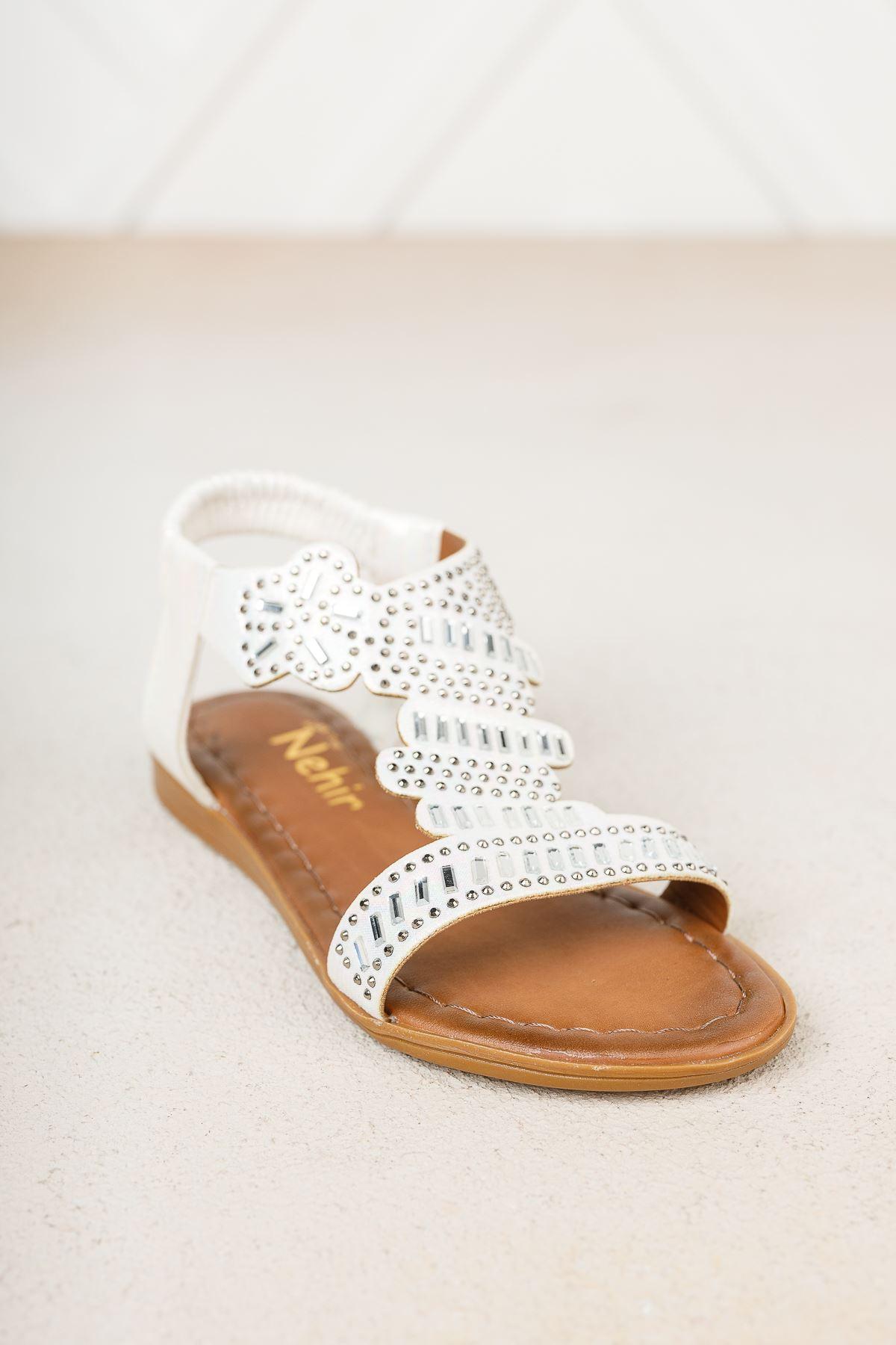 Sedef Taşlı Kız Çocuk Sandalet
