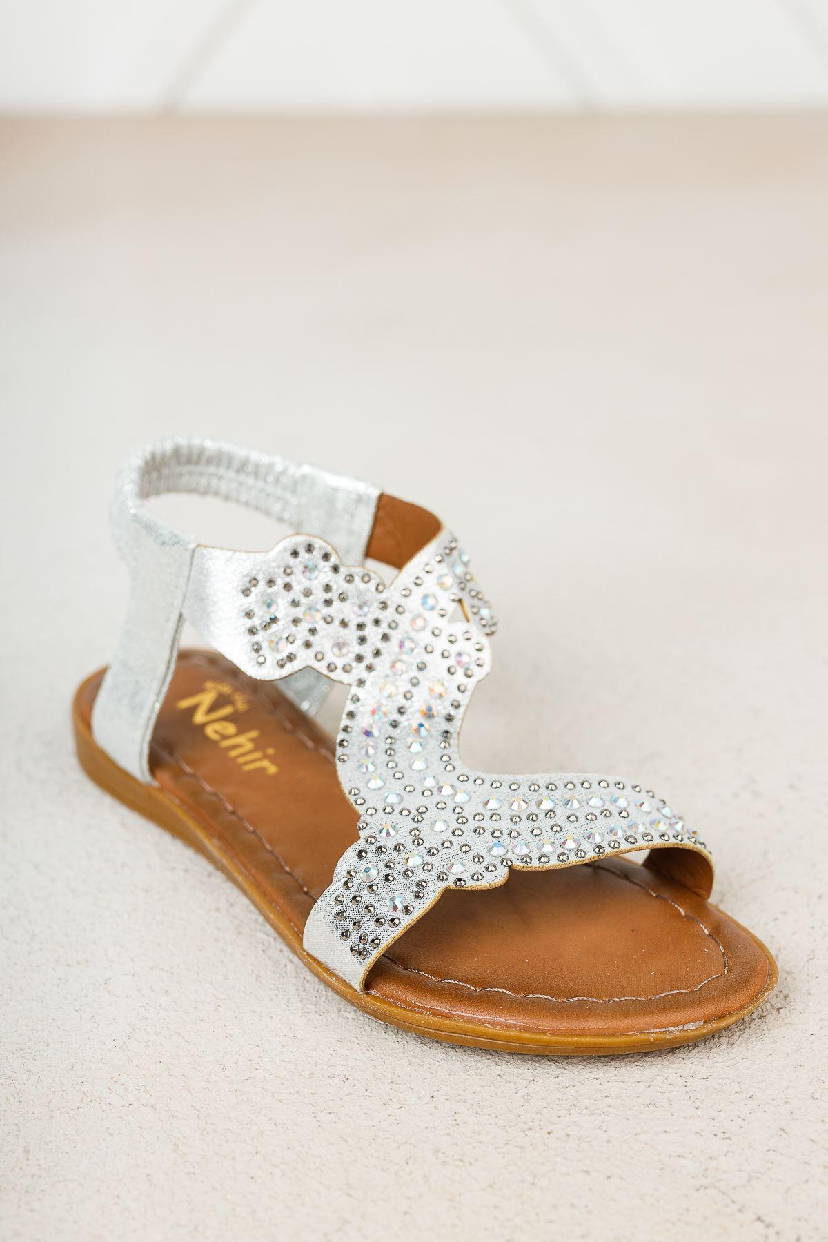 Gümüş Taşlı Kız Çocuk Sandalet