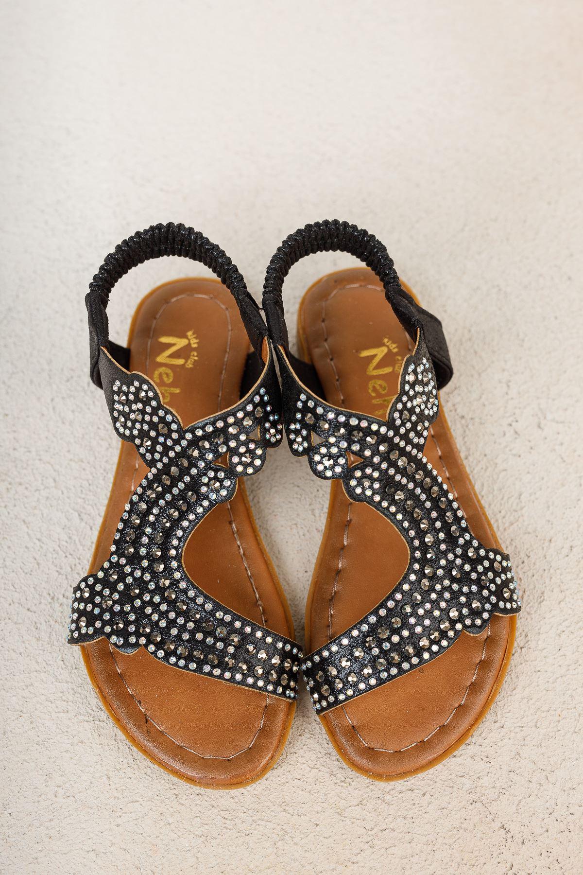 Siyah Taşlı Kız Çocuk Sandalet