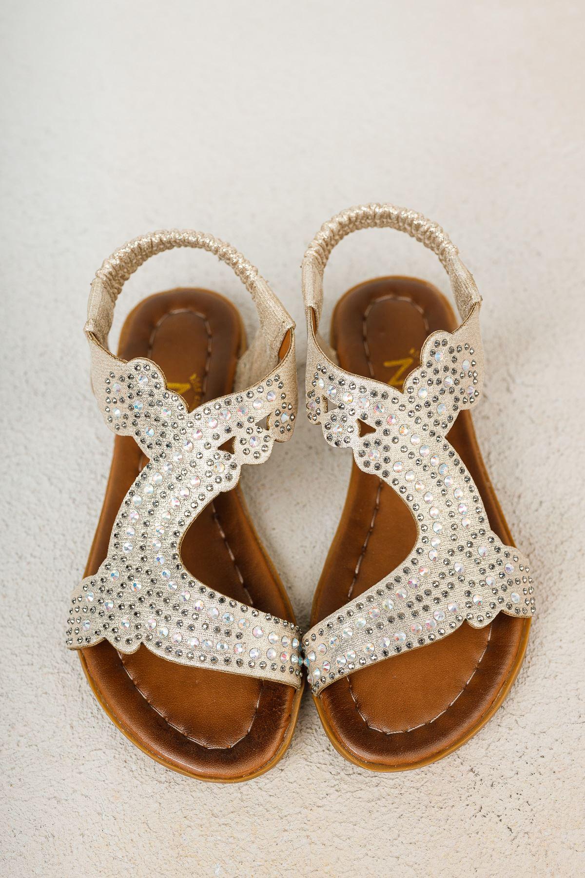 Altın Taşlı Kız Çocuk Sandalet