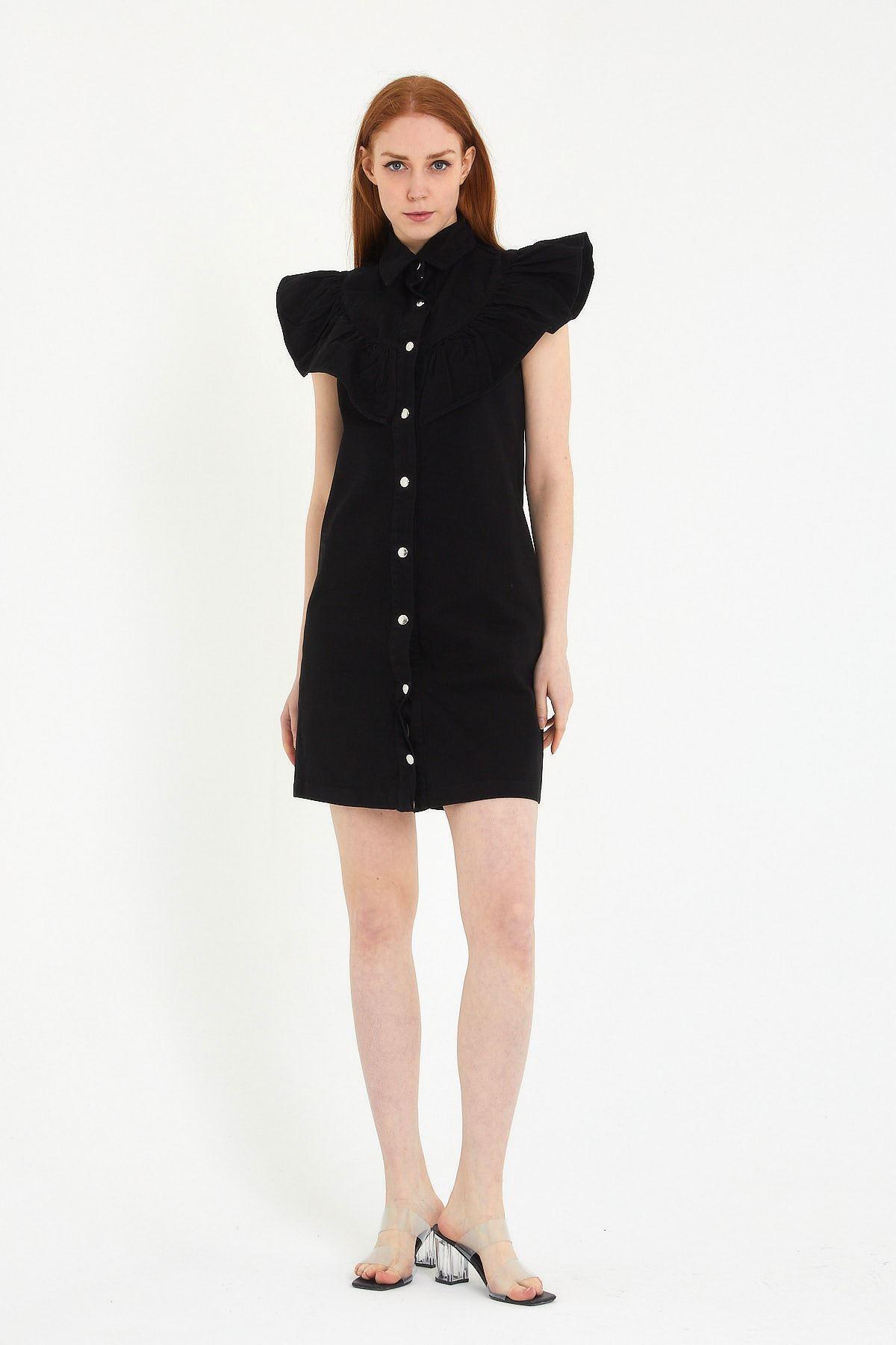 Yakalı Kolu Fırfırlı Elbise