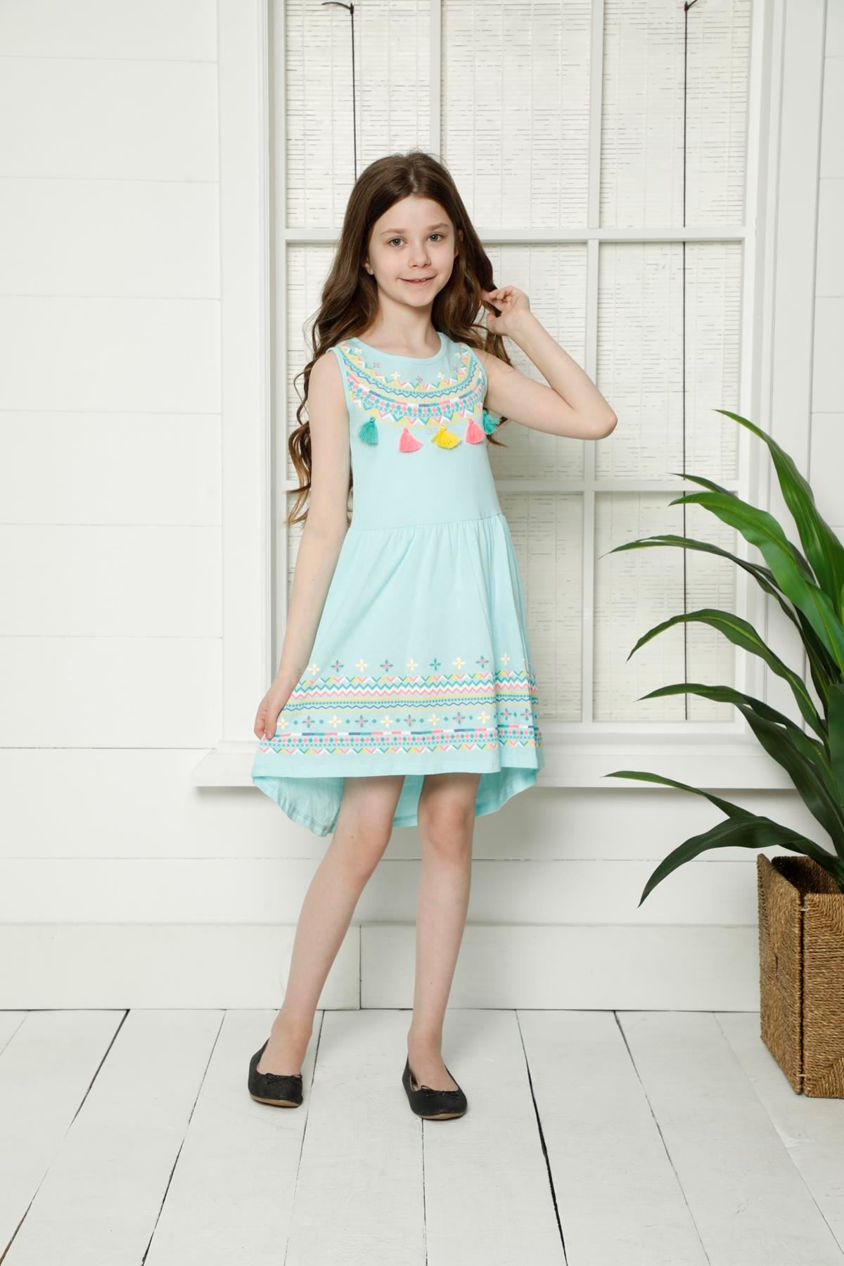 Nakışlı Kız Çocuk Elbise