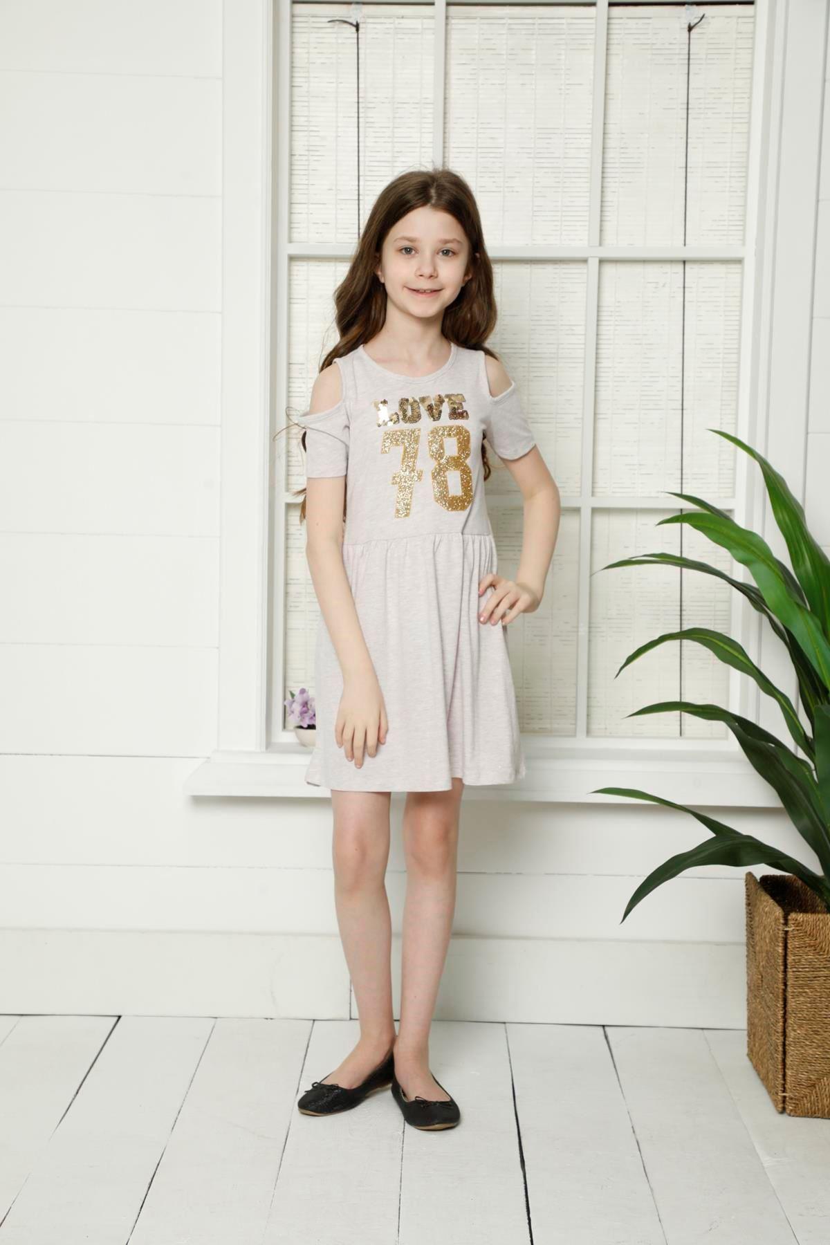Pullu Kız Çocuk Elbise