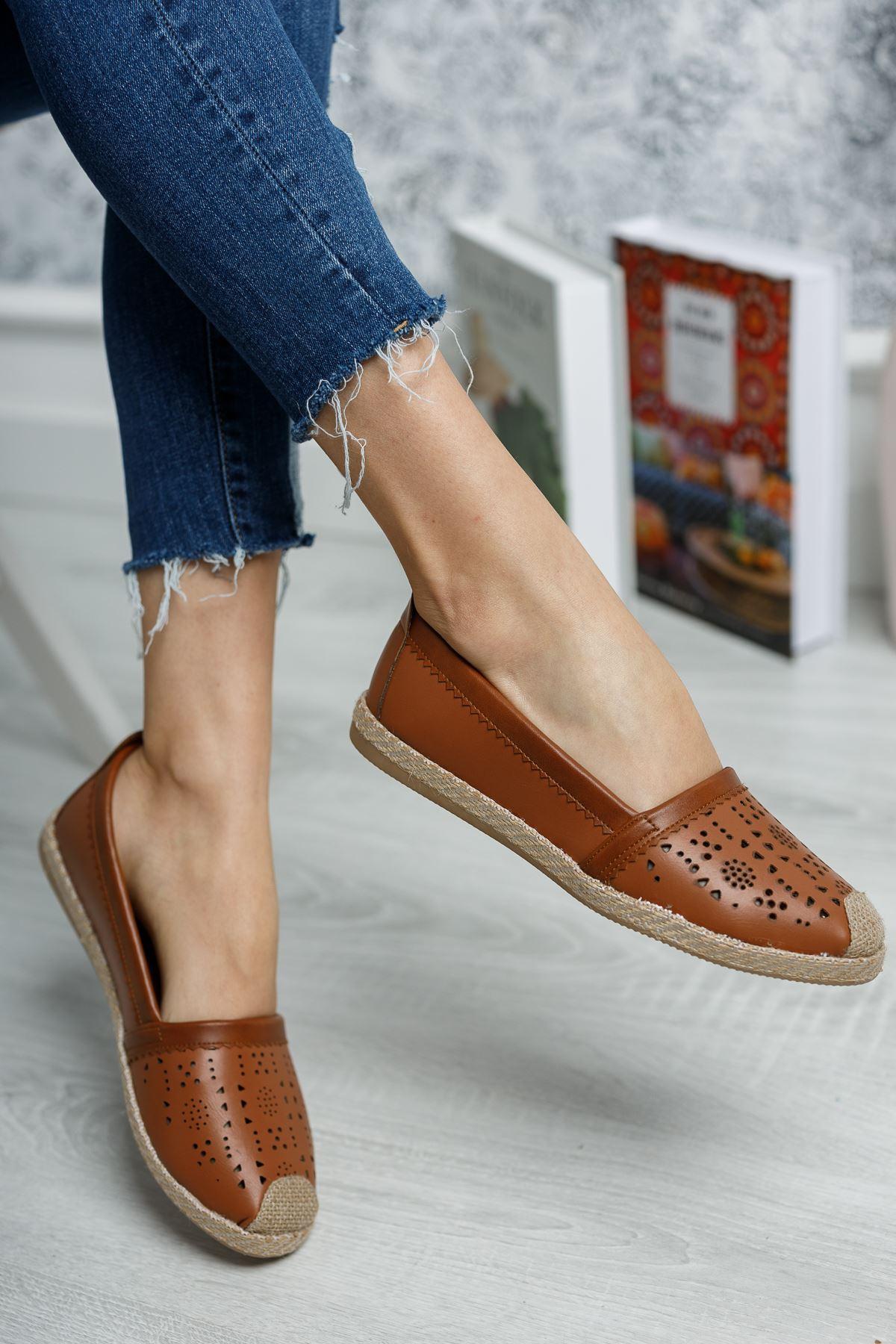 Ortapedik Pedli Lazerli Taba Cilt Ayakkabı