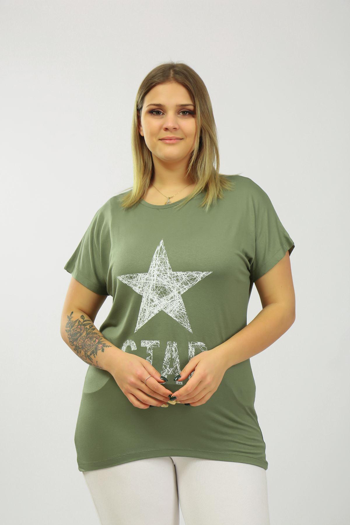 Yıldız Baskılı Kadın T-shırt