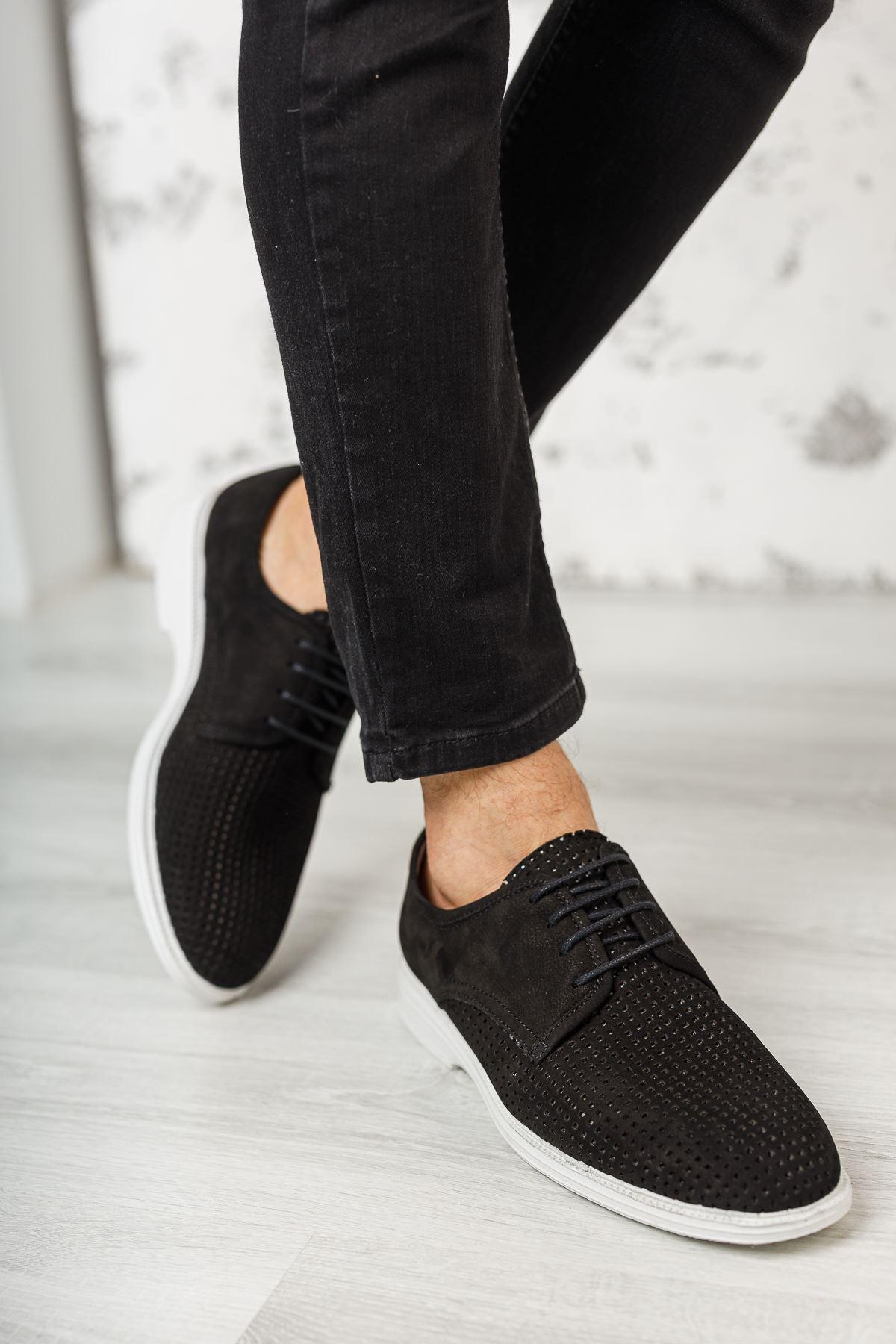 Bağcıklı Lazer Delikli Siyah Süet Deri Erkek Ayakkabı