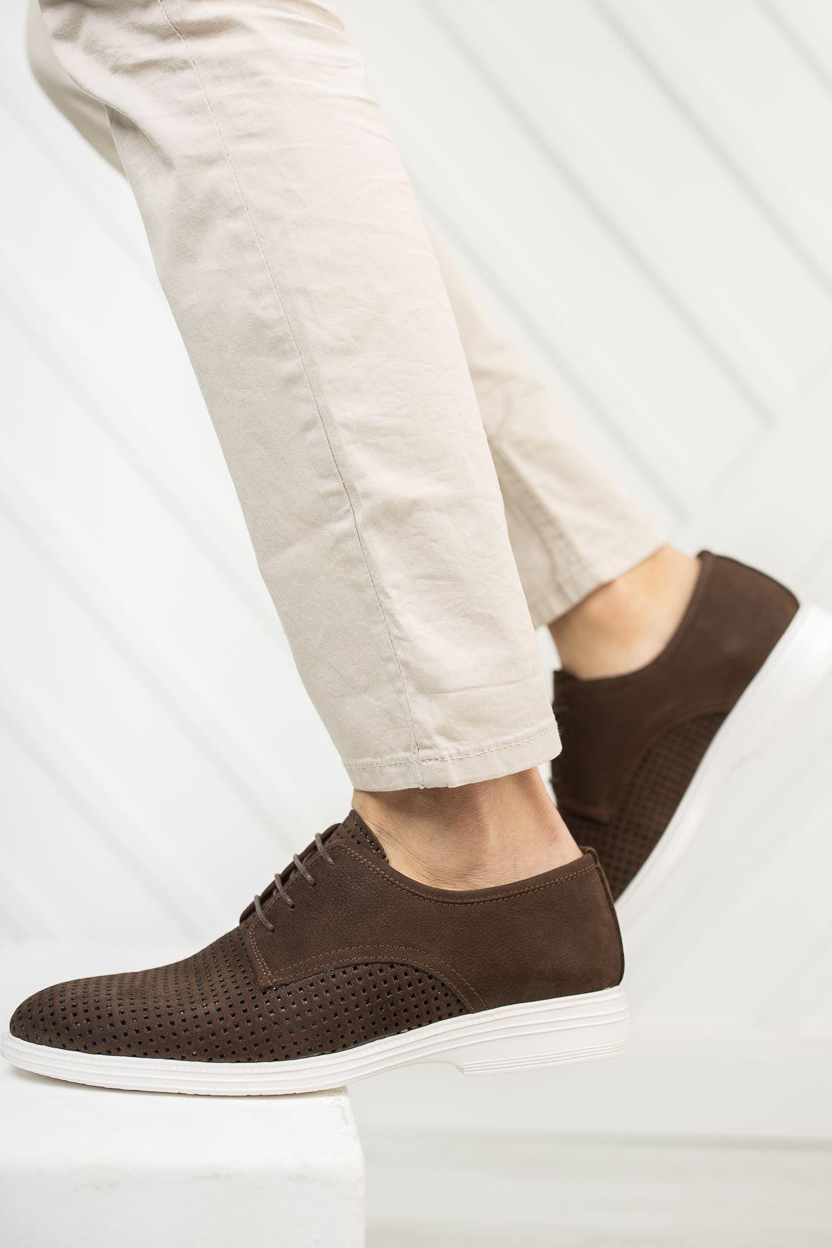Bağcıklı Lazer Delikli Kahverengi Süet Deri Erkek Ayakkabı