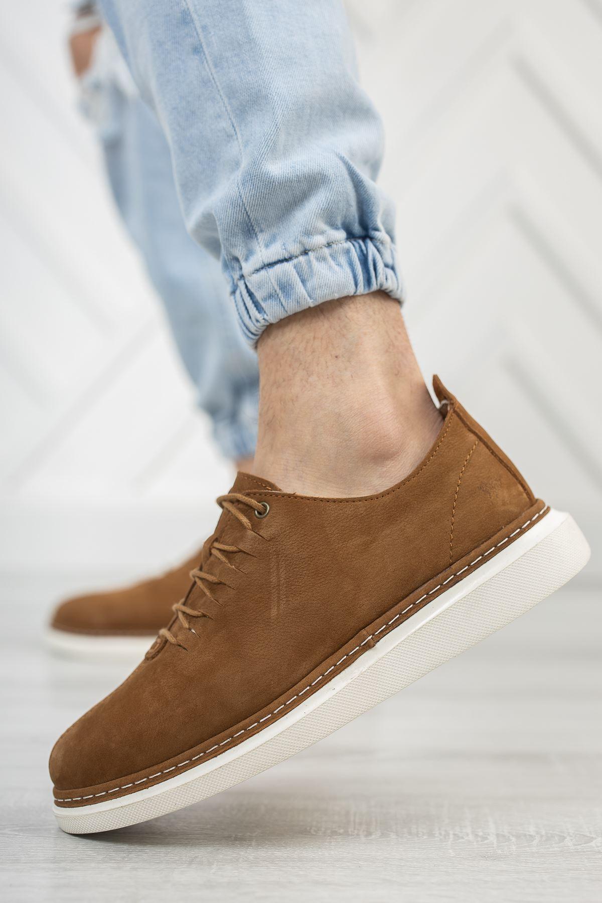 Bağcıklı Ortopedik Taban Taba Deri Ayakkabı