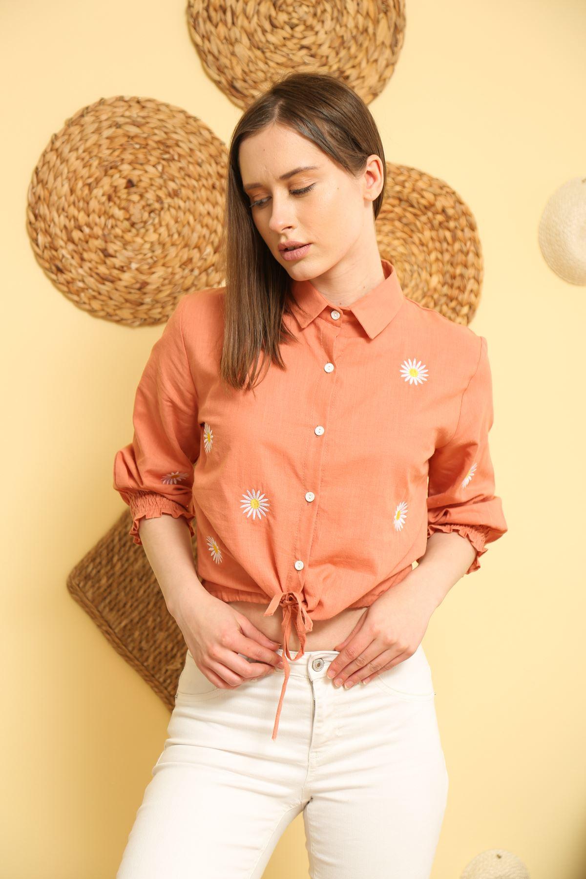 Nakışlı Bağlamalı Gömlek