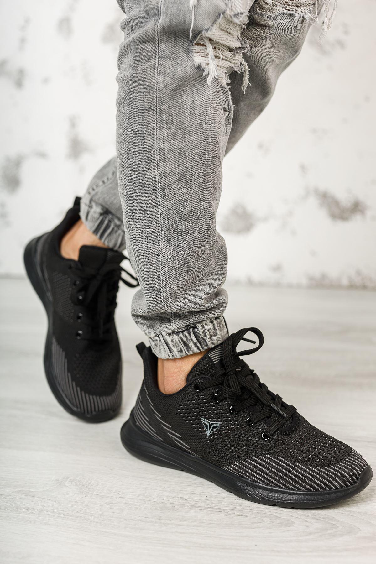 Bağcıklı Siyah Erkek Spor Ayakkabı