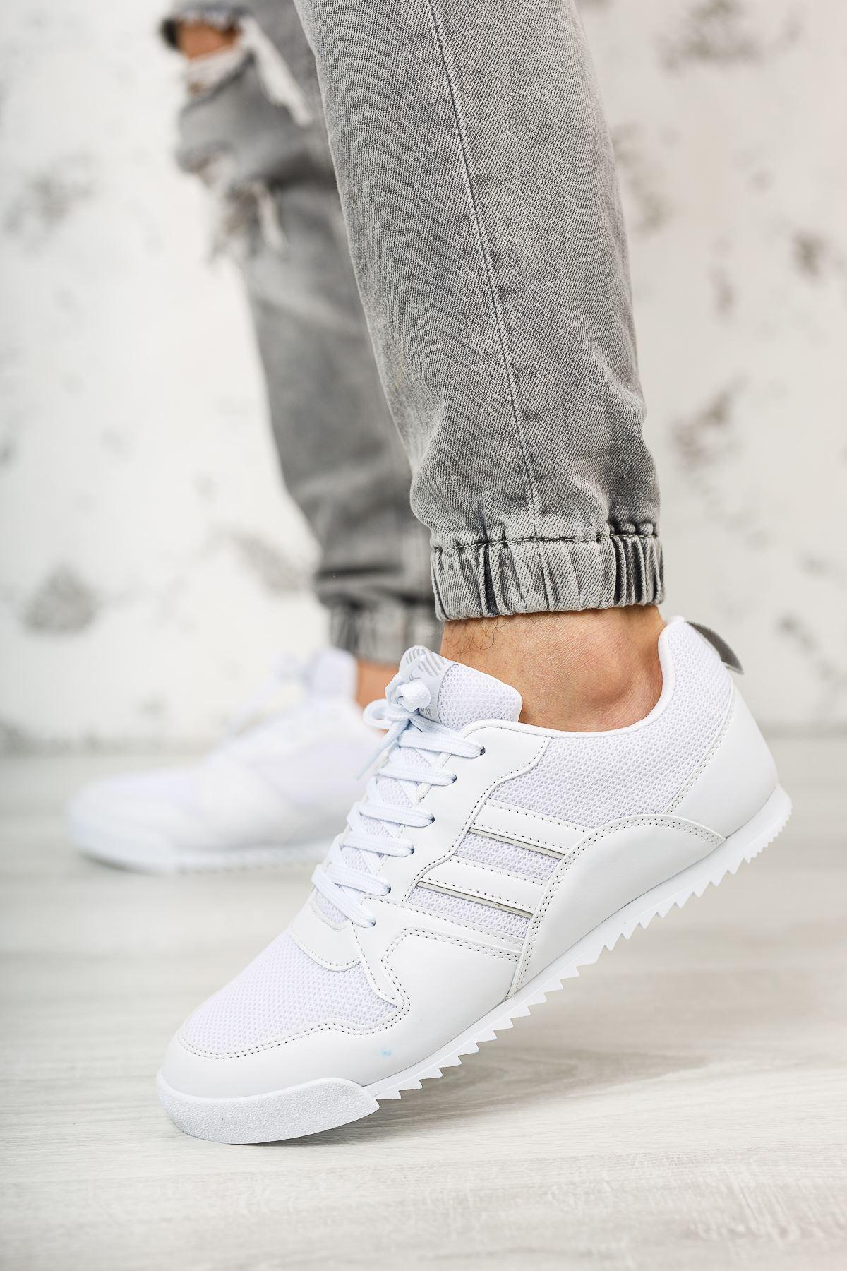 Bağcıklı Beyaz Erkek Spor Ayakkabı