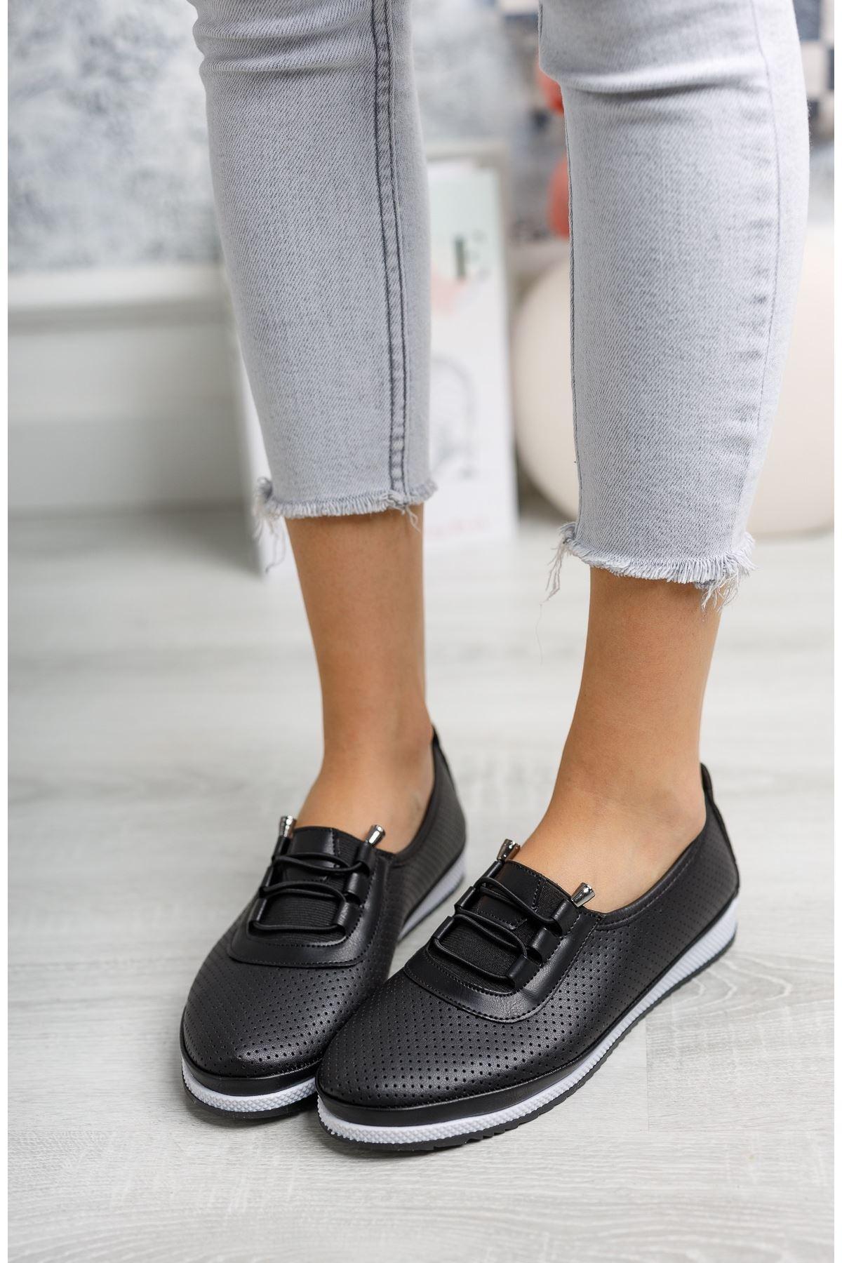 Ortopedik Pedli Lazerli Siyah Ayakkabı