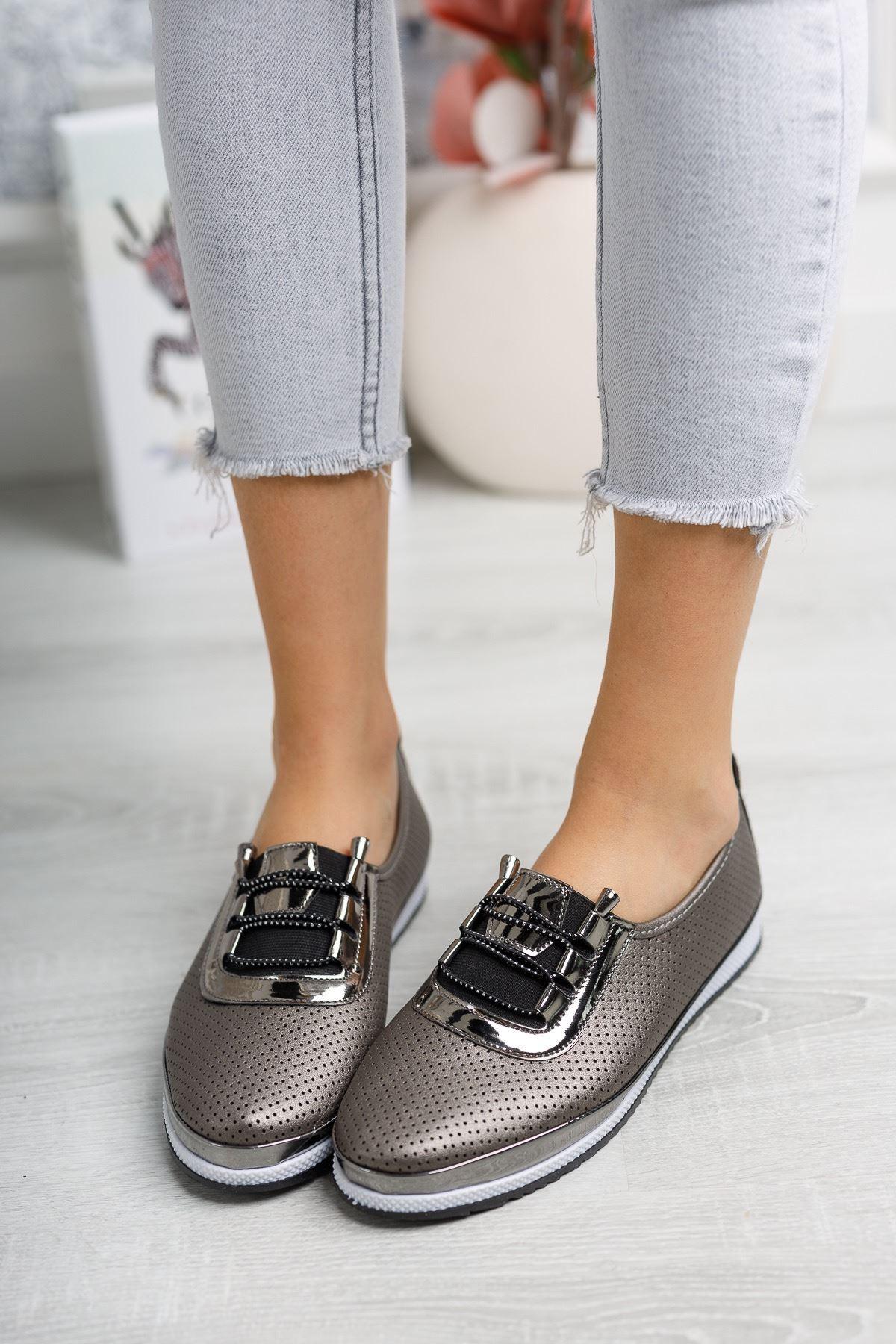 Ortopedik Pedli Lazerli Platin Ayakkabı