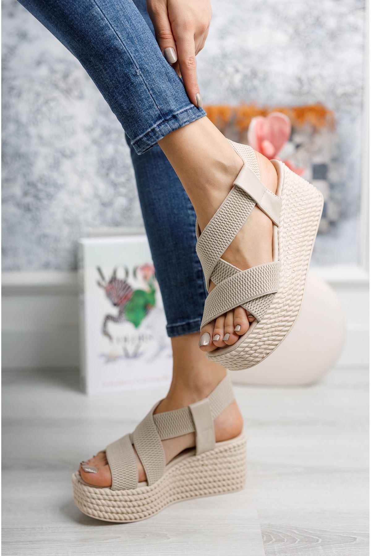 Mantar Taban Lastikli Vizon Sandalet