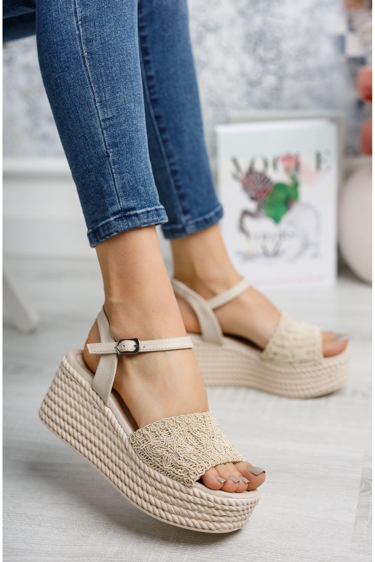 Mantar Taban Örgülü Vizon Sandalet