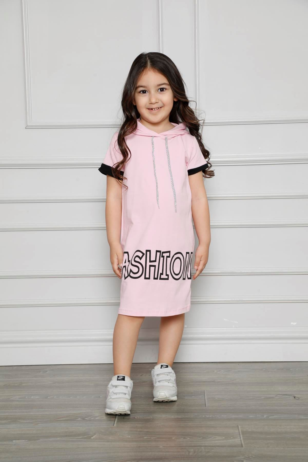 Kapşonlu Baskılı Kız Çocuk Elbise