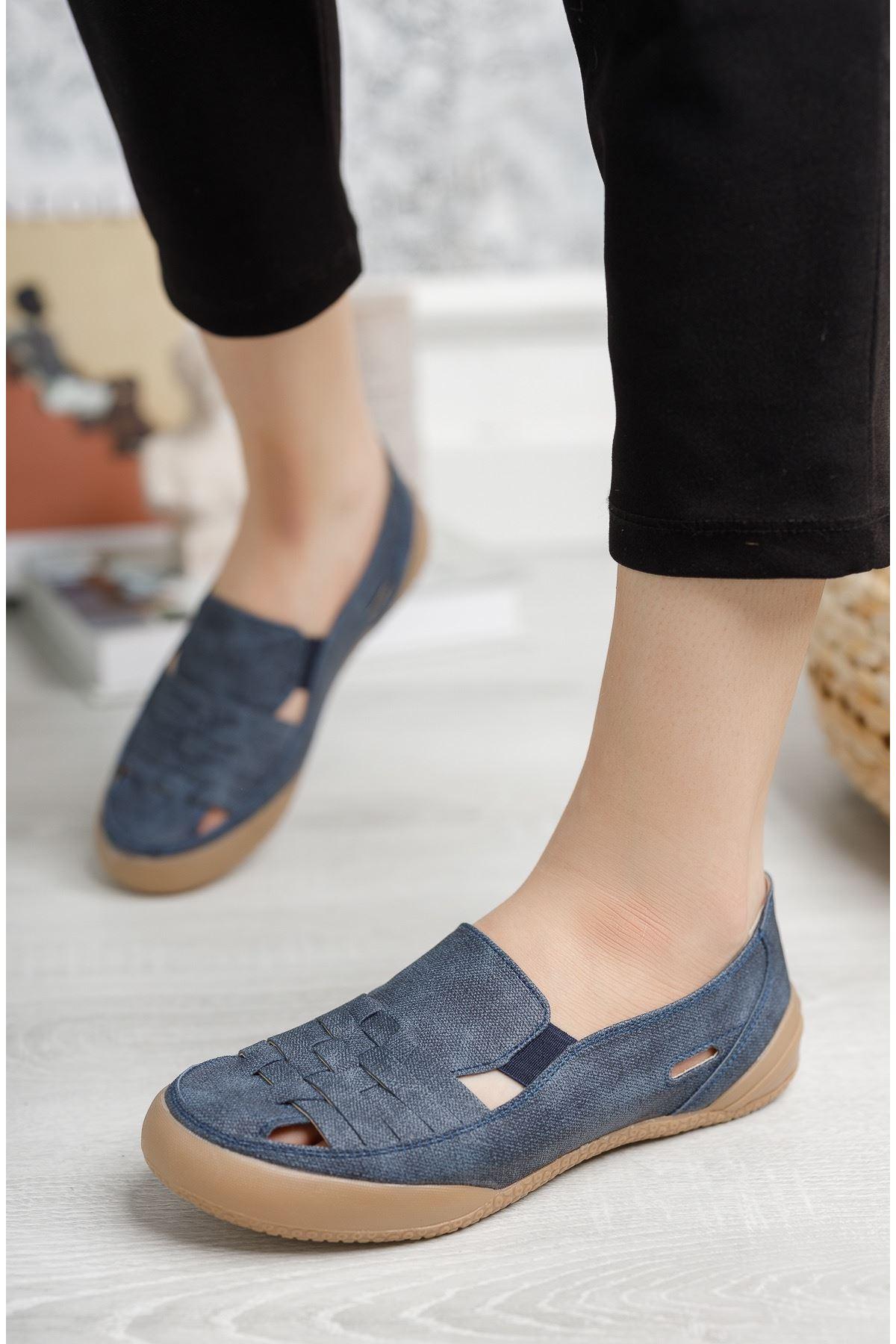 Ortopedik Ped Lastikli Lacivert Kadın Ayakkabı