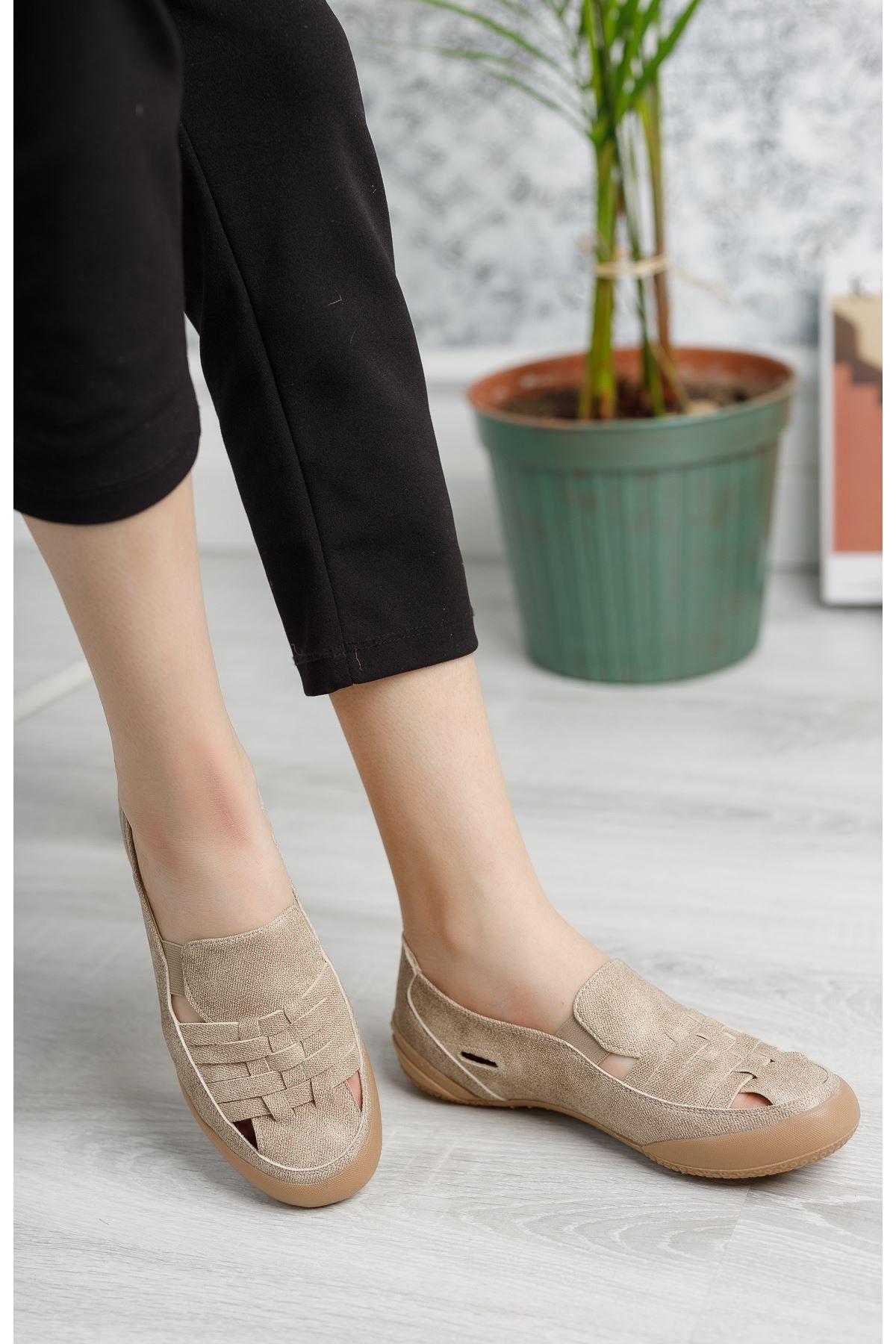Ortopedik Ped Lastikli Vizon Kadın Ayakkabı