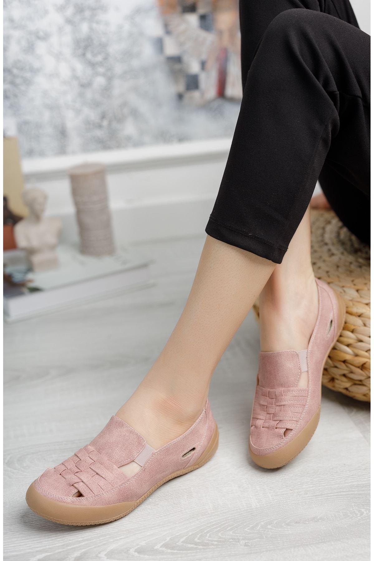 Ortopedik Ped Lastikli Pudra Kadın Ayakkabı