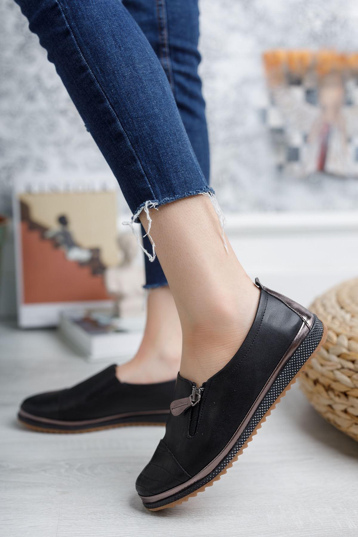 Ortopedik Ped İçi Deri Siyah Ayakkabı