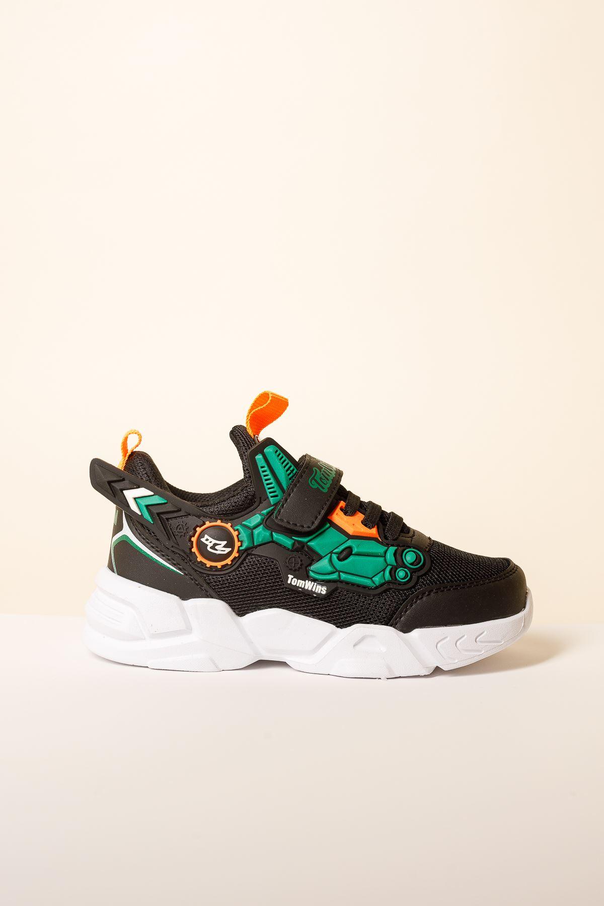 Cırtlı Siyah Çocuk Spor Ayakkabı