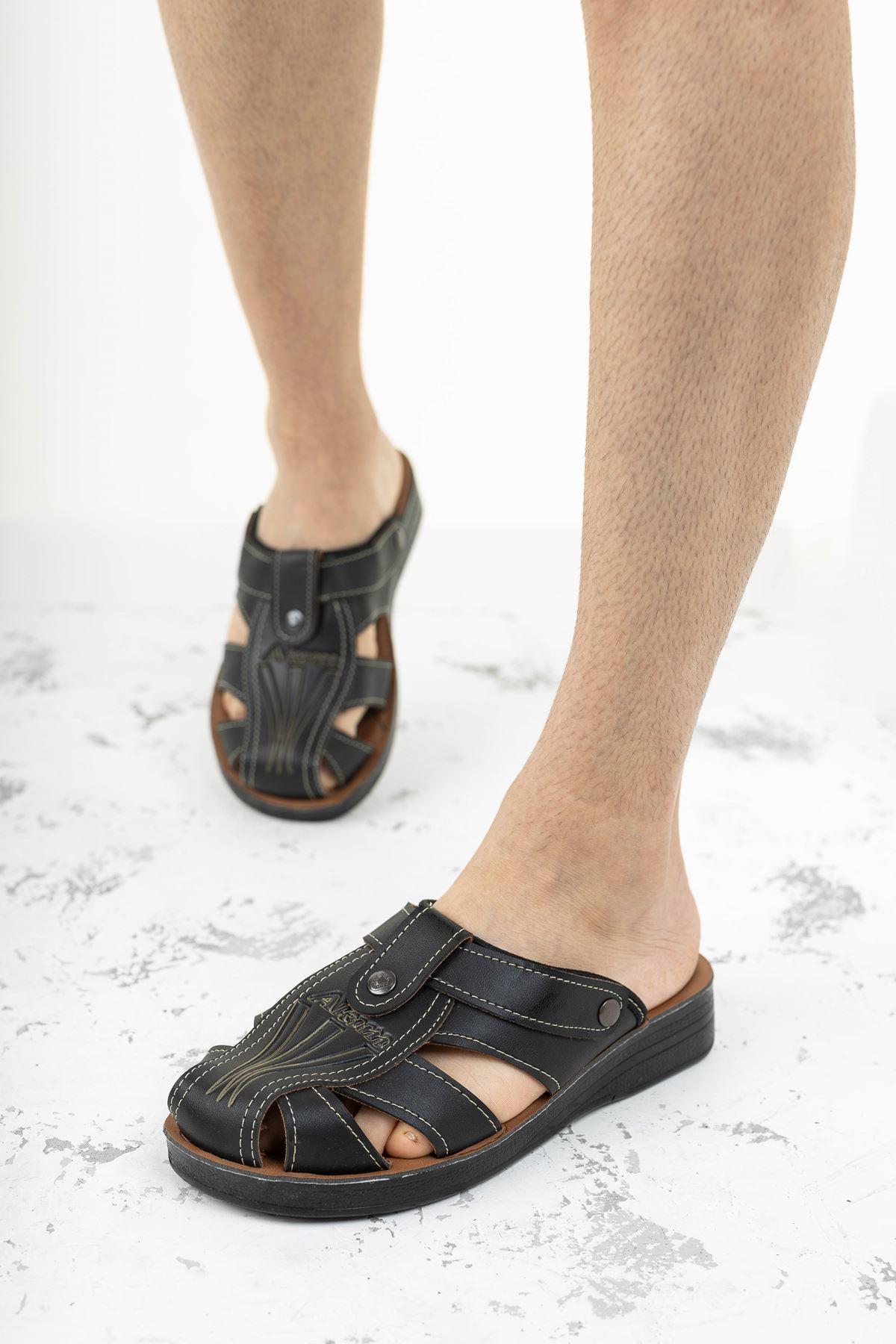 Burnu Kapalı Siyah Erkek Sandalet Terlik