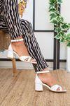 Çapraz Bant 5'lik Platform Beyaz Ayakkabı