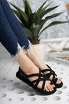 Siyah Halatlı Sandalet